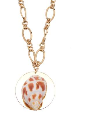 Sirena REBECCA DE RAVENEL shell and gold-plated pendant necklace