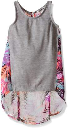 Kensie Big Girls Jersey Tank and Printed Chiffon Pullover Top