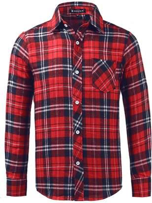 uxcell Man Single Breasted Round Hem Chest Pocket Check Print Shirt Medium