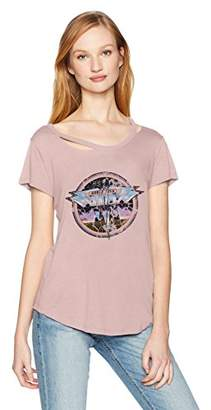 William Rast Women's Riot Single Cold Shoulder Graphic Tee