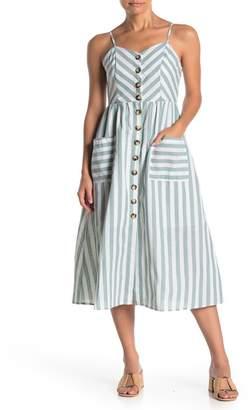 HYFVE Front Button Stripe Print Dress