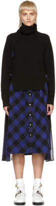 Sacai Black and Blue Buffalo Check Turtleneck Dress