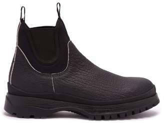 Prada Brixxen Neoprene Panelled Leather Chelsea Boots - Mens - Black
