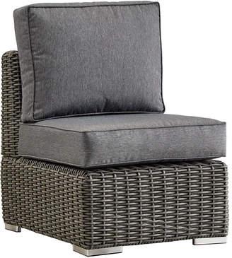 Inspire Q La Vita Wicker Patio Armless Chair With Cushions
