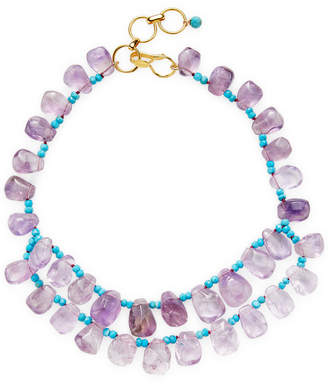 Bounkit 14K Plated Amethyst & Turquoise Station Necklace