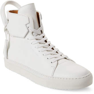 Buscemi White Leather High-Top Sneakers