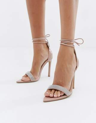 a68a7174ca5 Public Desire Caffeine blush embellished ankle tie heeled sandals