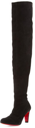 Christian Louboutin Alta Top Suede 70mm Over-the-Knee Red Sole Boot, Black $1,550 thestylecure.com