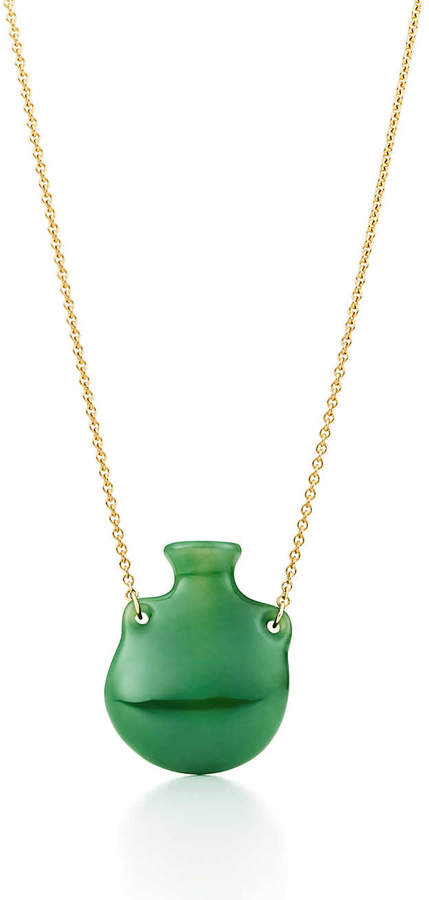 Elsa Peretti® Bottle green jade pendant on a gold chain, small.