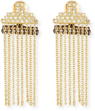Armenta Old World Petite Stacked Bar Chain Earrings w/ Diamond Pave