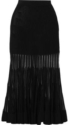 Alexander McQueen Mesh-paneled Ribbed Stretch-knit Midi Skirt - Black