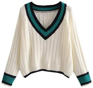 Goodnight Macaroon 'Destiny' V-Neck Varsity Knitted Sweater