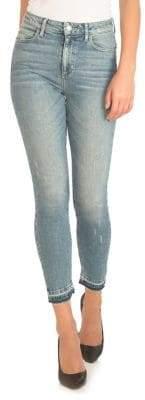 GUESS 1981 Raw-Hem High-Rise Skinny Jeans