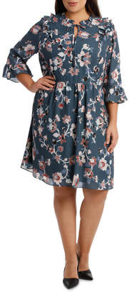 Ruffle Detail Tie Neck Fit & Flare Dress