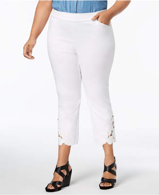 INC International Concepts I.n.c. Plus Size Lace-Hem Capri Pants, Created for Macy's