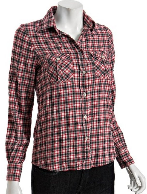 Just A Cheap Shirt red plaid stretch cotton rolled sleeve shirt