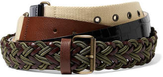 Y/Project Leather, Croc-effect And Canvas Belt - Cream