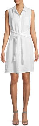 Three Dots Sleeveless Tie-Front Linen Shirtdress