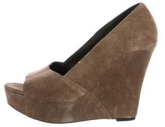 Elizabeth and James Suede Peep-Toe Wedges