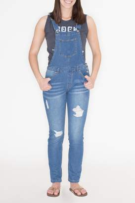 Love Tree Distressed Denim Overalls