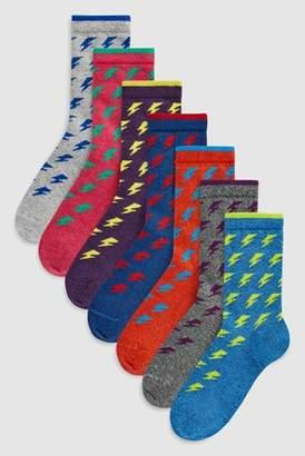 Next Boys Bright Lightning Bolt Socks Seven Pack (Older)