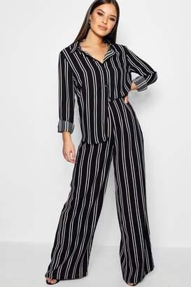 boohoo Petite Stripe Chiffon Co-ord Trousers