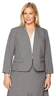Nine West Women's Plus Size Stand Back Collar Stretch Kiss Front JKT