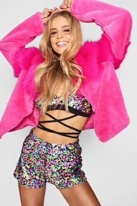 boohoo Cropped Faux Fur Mix Festival Jacket