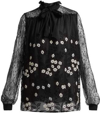 Giambattista Valli Floral Embroidered Chantilly Lace Blouse - Womens - Black