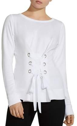 Bailey 44 Corset Lace-Up Fleece Sweatshirt