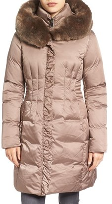 Women's Tahari 'Audrey' Quilted Coat With Faux Fur Trim $270 thestylecure.com
