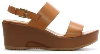 Donna Più Tan Leather Double Strap Wedge Sandals