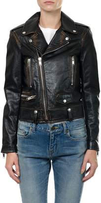 Saint Laurent Classic Bouche Motorcycle Jacket In Black Vintage Leather