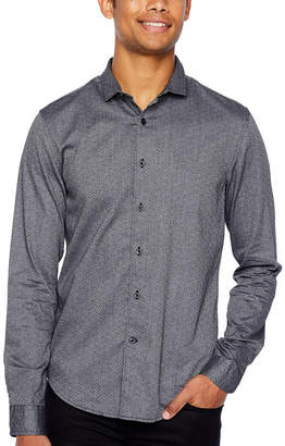 Jf J.Ferrar Mens Long Sleeve Pattern Button-Front Shirt