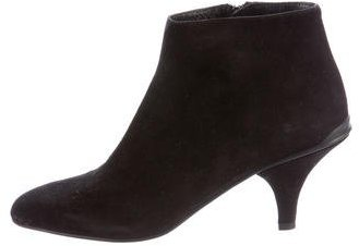 prada Prada Suede Semi Pointed-Toe Ankle Boots