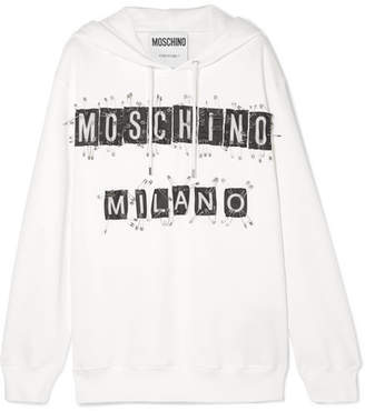 Moschino - Embellished Cotton-jersey Hooded Top - White