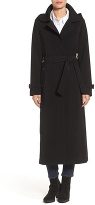 Petite Women's Gallery Belted Long Nepage Raincoat With Detachable Hood & Lining $350 thestylecure.com