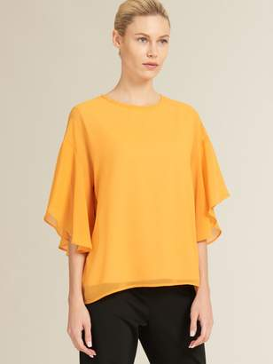 DKNY Ruffle Top With Knit Insert