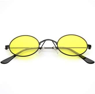 9e8275f4c6 sunglass.la Extreme Small Oval Sunglasses Color Tinted Flat Lens 44mm (Black    Yellow