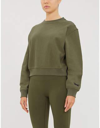 Reebok x Victoria Beckham Logo-embroidered cropped cotton-jersey sweatshirt