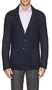 Isaia Men's Honeycomb-Knit Merino Wool Cardigan - Navy