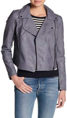 Moto Coffee Shop Lace-Up Faux Leather Jacket