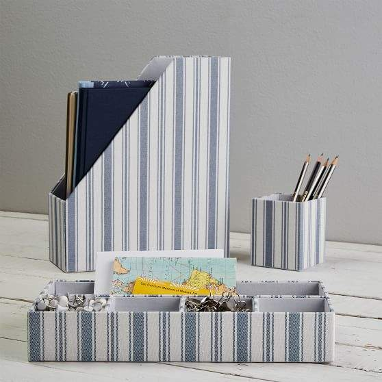 Fabric Desk Accessories Set, Blue Ticking Stripe
