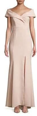 Xscape Evenings Petite Off-The-Shoulder Floor-Length Gown