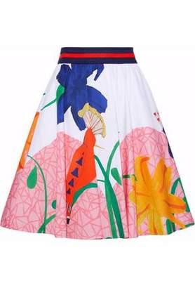 Alice + Olivia Alice+olivia Pleated Printed Cotton-Blend Skirt