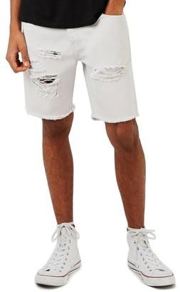 Men's Topman Ripped Slim Fit Denim Shorts $65 thestylecure.com