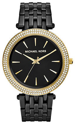 MICHAEL Michael Kors Michael Kors Darci Pavé Goldtone & Black IP Stainless Steel Bracelet Watch