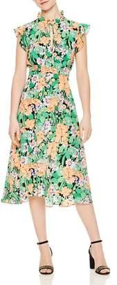Sandro Maline Floral-Print Silk Midi Dress