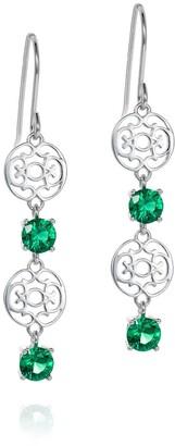 Hendrikka Waage Emerald Green Long Zirconia Drop Earrings