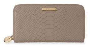 GiGi New York Large Zip Around Python Leather Wallet